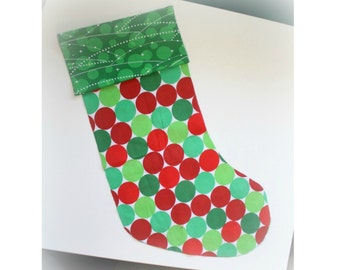 Christmas Stocking - Personalized Stocking - Fully Lined Cotton Stocking - Red and Green Dots