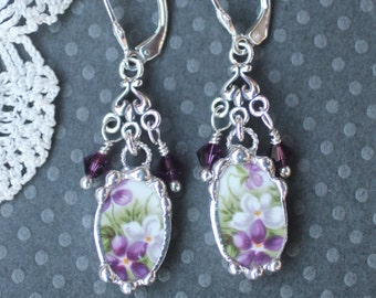 Earrings, Broken China Jewelry, Broken China Earrings, Sweet Violets, Sterling Sliver, Soldered Jewelry