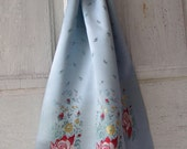 Vintage silk scarf blue with roses
