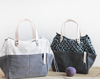 Project Bag w/ Basketweave print - Organic Cotton and Natural Leather Strap