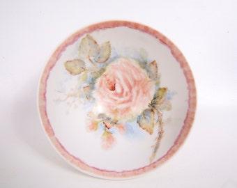 Vintage Rice Bowl Hand Painted Pastels Pink Rose Noodle Bowl Low Footed Tea Bowl