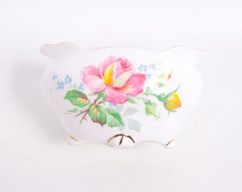 Vintage Apricot Rose Gladstone Bone China Sugar Bowl Made in England Yellow and Pink