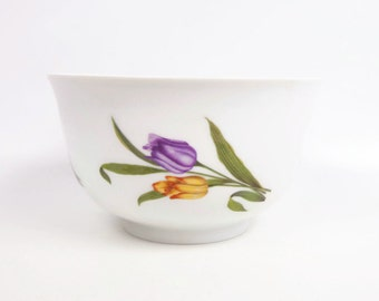 Vintage Bareuther Waldsassen Bavaria Germany Bowl Hand Painted Tulips Floral Design German Planter Footed Bowl Serving Dish