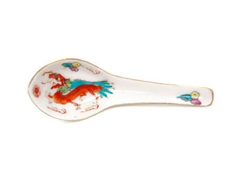 Vintage Oriental Dragon Soup Spoon Asian Theme Chinese Porcelain Rice Spoon Hand Painted
