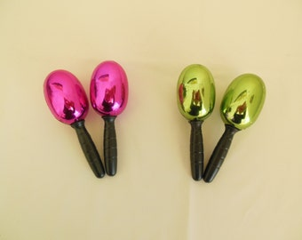 Two Pair of Maracas Hot Pink and Green Percussion Rattles Latin Music Classroom Instruments