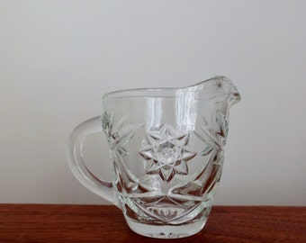 Anchor Hocking Early American Prescut Creamer Clear Glass Serving Piece with Handle