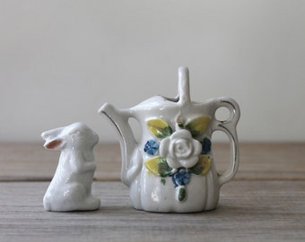Vintage ceramic bunny and pitcher decor set / white rabbit / floral mini pitcher / country cottage chic decor vignette / for altered art