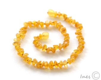 Raw Unpolished Baby Amber Teething Necklace,Honey Color Baltic Amber,  14 inch Child Necklace