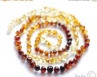 15% OFF THRU OCT Baltic Amber Baby Teething Set for Baby and Mommy Rainbow Color Rounded Beads