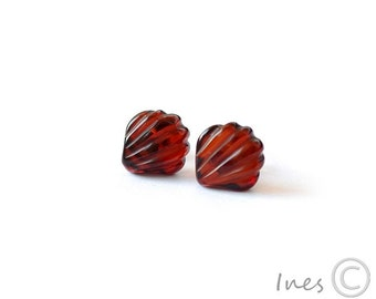 Cherry Baltic Amber Shell Earrings