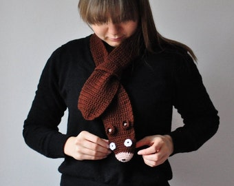 SALE Bear scarf, gift for kids and teens, children toddler wool crochet cowl, winter accessories, cozy brown