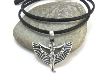Egyptian Jewelry, Isis Necklace - Ma'at Necklace, Winged Egyptian Goddess Isis Pendant