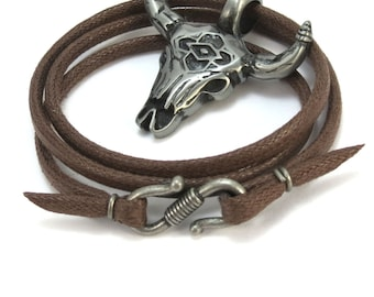 Southwestern Necklace, Bull Skull Necklace - Mens Skull Jewelry - Cowboy Necklace, Brown Cord - Bull Skull Pendant