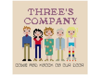 Threes Company - Cross Stitch Pattern - Pixel People Cross Stitch Pattern - Modern Cross Stitch Pattern - John Ritter