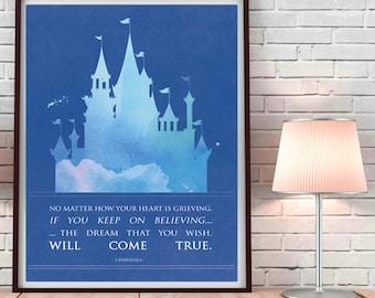 Cinderella inspired watercolor art, blue castle watercolor art, fairytale art, blue princess room, princess room art, Castle art print
