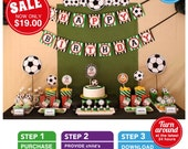 Soccer Birthday Party Package Personalized FULL Collection Set - PRINTABLE DIY - PS834CA1x