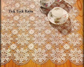 No.488 Crochet Pattern PDF Vintage - Snow Crystals Motif Doily Square Table Runner - Thread Crochet Lace Motif Table Tea Setting