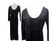 Velvet Dress 90s Maxi Dress 90s Black Dress Black Crushed Velvet Dress 90s Goth Dress Black Gothic Dress 1990s Dress 90s Grunge Dress Long