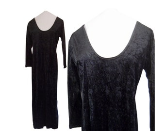 Black Velvet Dress 90s Maxi Dress 90s Black Dress Black Crushed Velvet Dress 90s Goth Dress Black Gothic Dress 1990s Dress 90s Grunge Dress