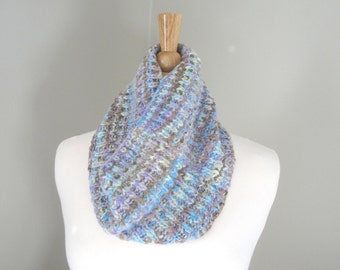 RESERVED Merino Wool Cowl Scarf, Hand Knit, Brioche Fisherman's Rib, Warm & Cozy, Striped Pastels