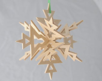 Three Dimensional Snowflake Ornament, 3D Wooden Star, Wood Christmas Ornament, Christmas Decor, Scroll Saw Holiday Decoration