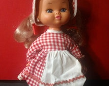 Vintage Playmates Blonde Doll in Red Gingham Dress and Bonnet