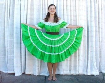 Vintage 70s Country Girl Dress - Green Square Dance Costume Off-Shoulder Dress - MED