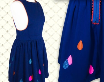Royal Blue Ladies Pinafore Dress- with pink, orange and blue raindrop pattern (RAIN). 5 Women's Sizes Available.