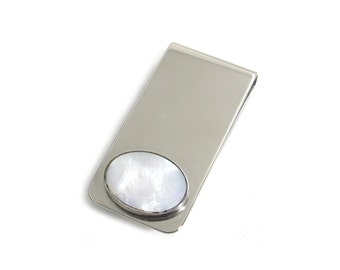 Mother of Pearl Inlay Money Clip - White Shell Inlay Money Clip -  MOP Money Clip - Shell Moneyclip - Pearlescent - Wholesale Accessories