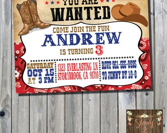 Country Western Birthday Invitation - Cowboy Cowgirl Party - Country Party - Birthday - Invitation - Digital File - Printable File