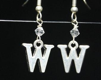 Personalized Initial Earrings Letter W