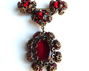 Rare Christian Dior by Kramer Red Glass Brass Booch Pin Vintage Costume Jewelry