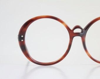 Vintage 60's Oversized Round Tortoise Shell Eyeglasses Frames