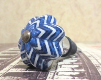 Wine Bottle Stopper - Blue & White Ceramic Wine Stopper