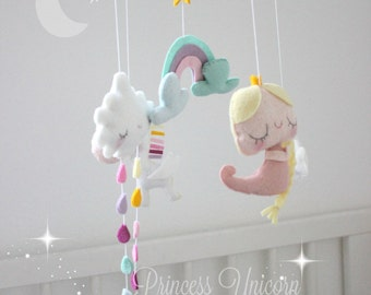 Baby Mobile Unicorn Princess - Princess Crib Mobile - Unicorn Baby Mobile - Unicorn Nursery - Baby Mobile Clouds