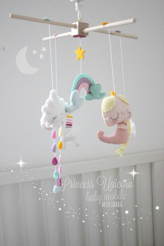 Baby mobile unicorn princess princess crib mobile by mukibaba for Princess crib mobile