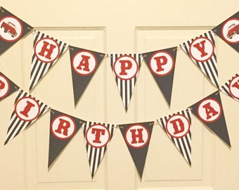 VINTAGE RED TRUCK Happy Birthday Party or Baby Shower Banner Black Red - Party Packs Available