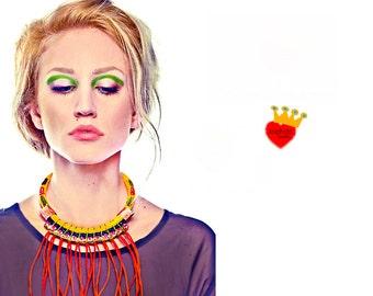 Red-Statement necklace,fringe necklace,rhinestone necklace,rope necklace,boho jewelry,unique,red necklace,chunky necklace,summer jewelry