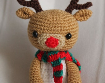 Crochet Rudolph the Red Nosed  Reindeer Handmade Animal Wool Soft Toy Gift