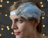 Ribbon Headband-Beautifully accented with silver seed and bugle beads, and blue rooster hackle feathers