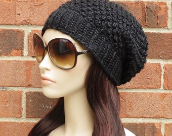 Slouchy Beanie Hat Womens Crochet Slouchy Hat in Black Heather  // THE HARTFORD // Fall Winter Accessories
