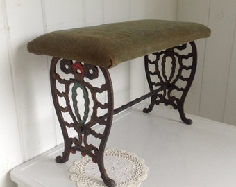 vintage antique wrought cast iron sewing machine bench olive green fabric seat vanity stool