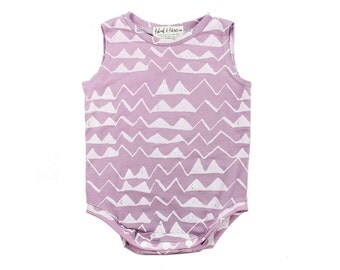 Thief&Bandit Classic 'Mountain' Onesie in White on Rose Quartz
