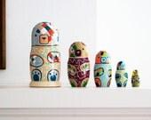 Bear Nesting Dolls / Matryoshka Russian Dolls / Set of 5 / Colorful / Geometric / Art Dolls