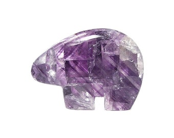 Purple Fluorite Semiprecious Gem Stone Bear Fetish Illinois Finest Color, Gemstone Carving, Polished Rock Sculpture, Native American Motif