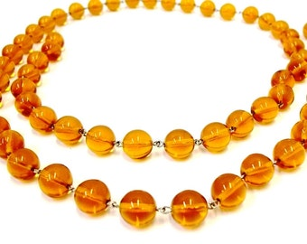 Amber Chandelier Crystal Chain 12 mm Smooth Amber Glass Beads Chandelier Garland Swag String Amber Crystal Strand  1 Meter ( 39 Inches )