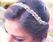 Bridal Headband , crystal headpiece , crystal tiara , Winter wedding , Crystal crown, Bridal halo,  Hair accessories pearls, Bridal tiara