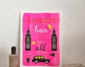 In love with LONDON - Art Print - Quote print - London Poster - Pink Riso Print - London Wall Art - London has it all - A5 print