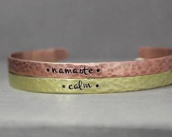 Stacking Cuffs, Yoga Cuffs, Calm Cuff, Namaste Cuff, Calm Bracelet, Namaste Bracelet, Stacking Bracelets, Cuff Bracelets, Adjustable Cuffs
