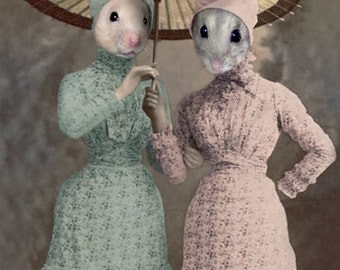 Bess & Jess, Whimsical Mouse Art, Anthropomorphic, Mice Dressed Up, Digital Photo Collage, Weird Art, Nursery Decor, Unique Wall Decor